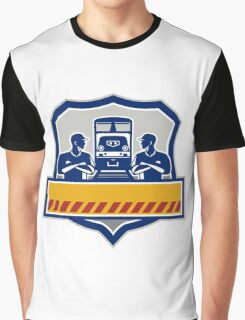 Train Engineers Arms Crossed Diesel Train Crest Retro Graphic T-Shirt