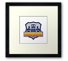 Train Engineers Arms Crossed Diesel Train Crest Retro Framed Print
