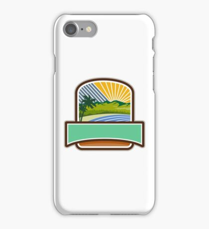 Tropical Trees Mountains Sea Coast Crest Retro iPhone Case/Skin