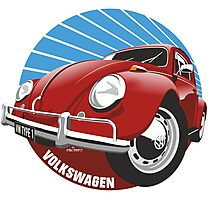 Sixties VW Beetle red Photographic Print