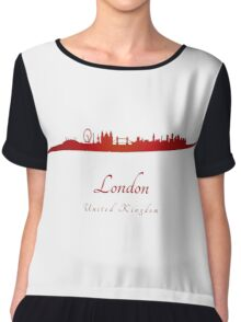 London skyline in red and gray background Chiffon Top