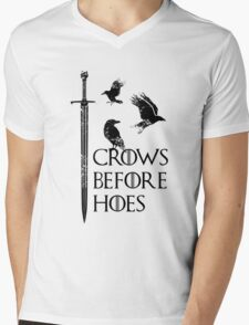 Crows flying on sword Mens V-Neck T-Shirt