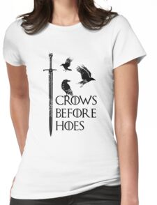 Crows flying on sword Womens Fitted T-Shirt