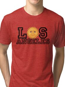 Los Angeles sun emoji (black text) Tri-blend T-Shirt