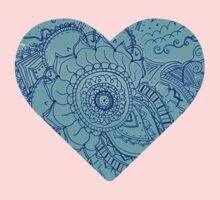 Blue Doodle Heart Baby Tee