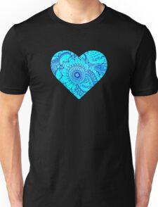 Blue Doodle Heart Unisex T-Shirt