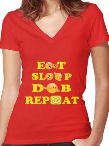 Eat sleep DAB repeat Women's Fitted V-Neck T-Shirt