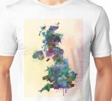 United Kingdom map watercolor style splash Unisex T-Shirt