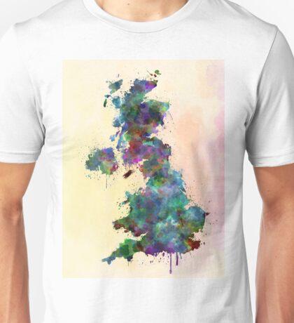 United Kingdom map watercolor style splash Unisex T-Shirt