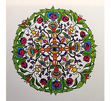 Dorje and Flowers Mandala Photographic Print