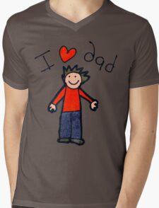 I Love Dad Mens V-Neck T-Shirt