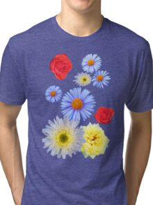 Colorful flowers like living Tri-blend T-Shirt