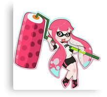 Pink Roller Girl Inkling 2 Canvas Print