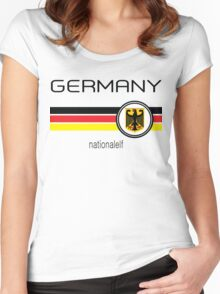 Euro 2016 Football - Germany ( White)  Women's Fitted Scoop T-Shirt