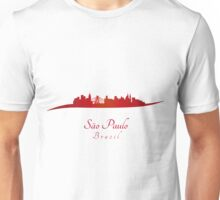 Sao Paulo skyline in red and gray background Unisex T-Shirt
