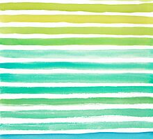 Ocean Watercolour Stripes by Pip Gerard