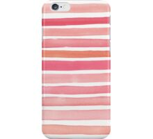Candy Pink Watercolour Stripes iPhone Case/Skin