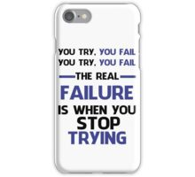 NEVER STOP TRYING - BLACK&BLUE iPhone Case/Skin