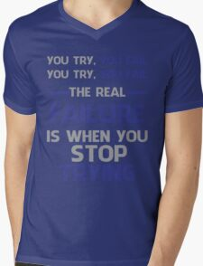 NEVER STOP TRYING - GREY&BLUE Mens V-Neck T-Shirt