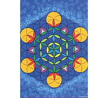 1205 - Flower of Life on Fire in Blue and Shining Environment Photographic Print