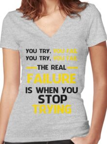 NEVER STOP TRYING - BLACK&YELLOW Women's Fitted V-Neck T-Shirt