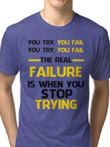 NEVER STOP TRYING - BLACK&YELLOW Tri-blend T-Shirt