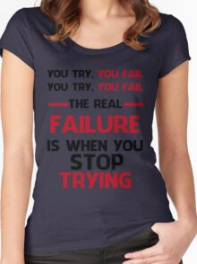 NEVER STOP TRYING - BLACK&RED Women's Fitted Scoop T-Shirt