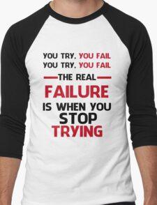 NEVER STOP TRYING - BLACK&RED Men's Baseball ¾ T-Shirt