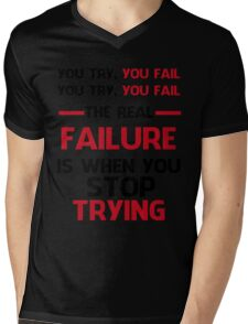 NEVER STOP TRYING - BLACK&RED Mens V-Neck T-Shirt