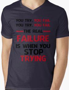 NEVER STOP TRYING - BLACK&RED Mens V-Neck T-Shirt