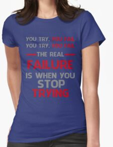 NEVER STOP TRYING - GREY&RED Womens Fitted T-Shirt
