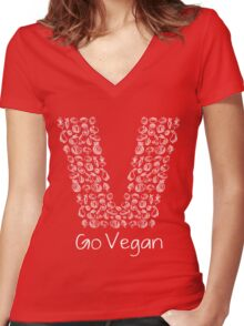 Go Vegan For Healthy Lifestyle Best Gift For Men And Women Women's Fitted V-Neck T-Shirt