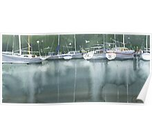 Boats at the marina of Morlaix, Brittany Poster
