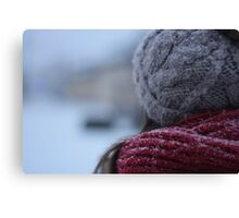 back of a woman's head in winter Canvas Print