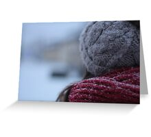 back of a woman's head in winter Greeting Card