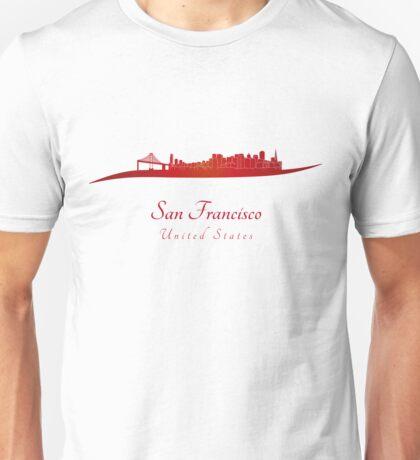 San Francisco skyline in red Unisex T-Shirt