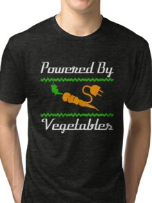 Cool Unique Powered By Vegetables T-Shirt Ideal Gift For Vegans Tri-blend T-Shirt