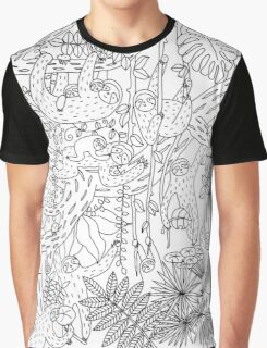 Sloths Jungle - Black and White Graphic T-Shirt