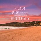 Noosa Beach Sunset Pillow with Quote - Australia by RDography