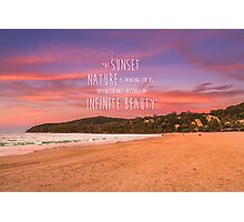 Noosa Beach Sunset Pillow with Quote - Australia Photographic Print