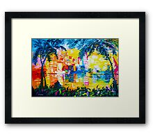 Bright Cityscape Through Palm Trees Romantic Couple Painting Framed Print
