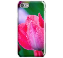 pink wet tulip with raindrops iPhone Case/Skin