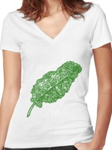Awesome Unique Vegan T-Shirt - Powered By Kale For Men And Women Women's Fitted V-Neck T-Shirt