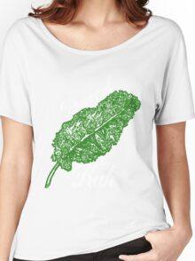 Awesome Unique Vegan T-Shirt - Powered By Kale For Men And Women Women's Relaxed Fit T-Shirt