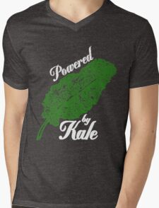 Awesome Unique Vegan T-Shirt - Powered By Kale For Men And Women Mens V-Neck T-Shirt