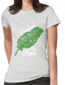 Awesome Unique Vegan T-Shirt - Powered By Kale For Men And Women Womens Fitted T-Shirt