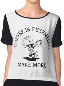 calvin and hobbes coffee Chiffon Top
