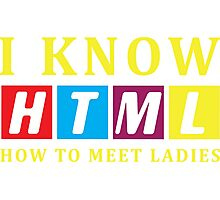 I Know HTML. How to Meet Ladies - Programmer T-shirt Photographic Print