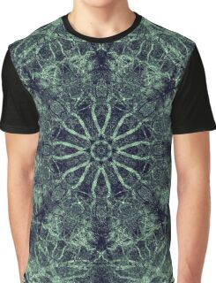 Intricate Green Lacy Rosette Centre Mandala Graphic T-Shirt