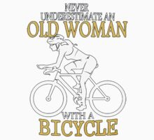 old woman with a bicycle One Piece - Short Sleeve